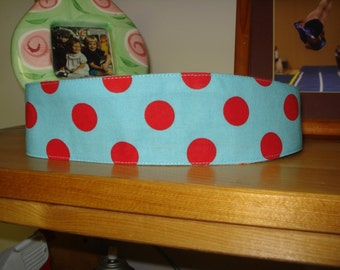 Turquoise & Red Polka Dot Fabric Headband made in Canada