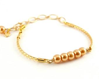 Pearl Bracelet, Gold Bracelet, Stacking Bracelet, Valentine's Gift