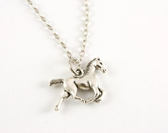 Tiny Pony Necklace, Horse Jewelry, Under 15, Gift for Her