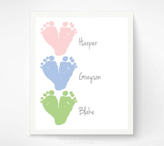 Baby Gifts For New Grandparents : Gift for grandparents baby footprint hearts by