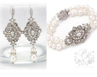 Wedding Bracelet Earrings Swarovski Clear Crystal Swarovski Pearl Bracelet Earrings Bridal Jewelry Wedding Jewelry Wedding Accessory rhombus