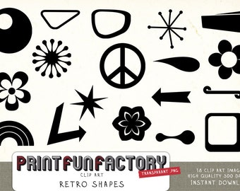 Retro shapes clipart INSTANT DOWNLOAD
