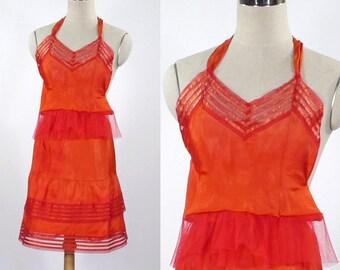 """Vintage Women's Red Tiered Half Slip & Camisole - Size Small - Chest 26"""" - Steampunk - Wild West Underwear - 1950s Lingerie"""