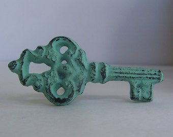 Knob- Painted Key Distressed Knob-Shabby Chic and Vintage Inspired Decor-1 Knob