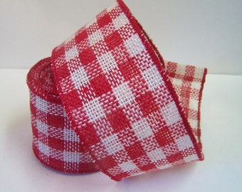 """Red Burlap Ribbon, Red and White Plaid Christmas, Ribbon, 3"""" wide, Christmas Bows, Gifts, ,Christmas Decor, 5 yards"""
