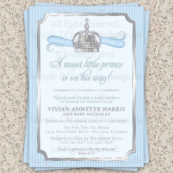 prince baby shower invitation little prince baby shower invitation