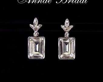 "Clear crystal Art Deco earrings, bridal wedding Swarovski, silver,  rectangle, ""Napoli"" earrings"
