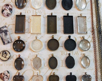 25 Original Kits- Lovely Pendant Trays and Shapes with Glass & Chains. Rectangle, Round, Oval, and Heart Shaped Pendant Tray Kits.