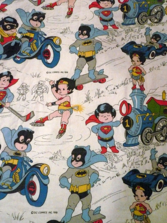 Dc Comics Vintage Fabric Superkids Babies Superman Wonder