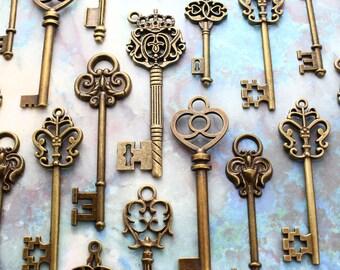 70 Antiqued Brass Skeleton Key Collection Keys Of July  Wedding Key Wholesale Lot Bulk