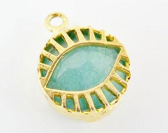 Aqua Jade Stone Eye Pendant - 22K Matte Gold Plated