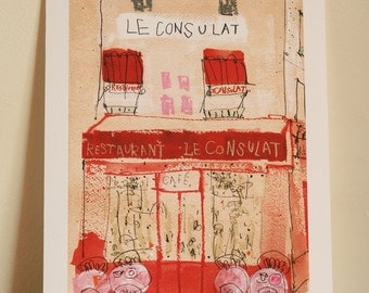 PARIS ART PRINT Restaurant Le Consulat Wall Art Montmartre Paris Painting French Cafe Giclee Print, Parisian Cafe Watercolor Clare Caulfield