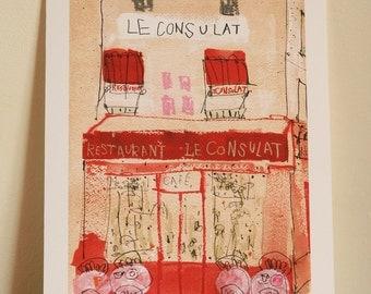PARIS ART PRINT Restaurant Le Consulat Wall Art Montmartre Paris Painting French Cafe Giclee Print, Parisian Cafe Watercolor Clare Caulfield