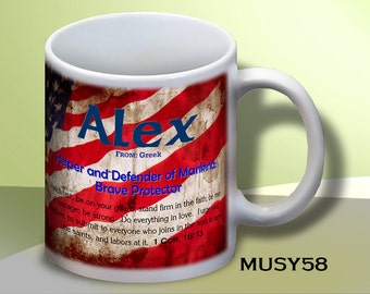 Patriotic Name Meaning Coffee Mugs: Personalize with ANY name, and pick any design!