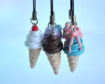 Assorted Flavours Ice Cream Charm - Kawaii Miniature Food Polymer Clay