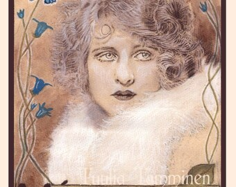 Fine art original Art Nouveau painting drawing mixed media - Memories by Tuulia Tamminen