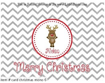 Silver Gray Chevron Monogram Reindeer Personalized Christmas Cards Note Cards Set of 10 personalized flat or folded cards