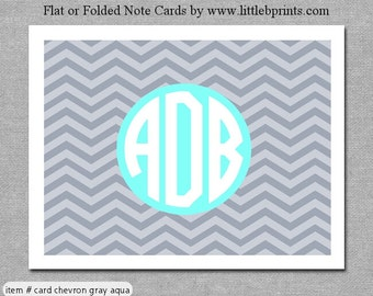 Gray Aqua Chevron Monogram Note Cards Set of 10 personalized flat or folded cards