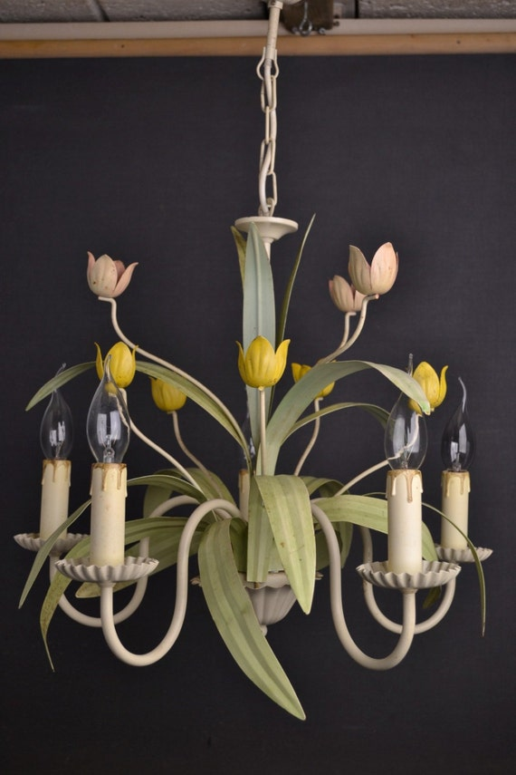 Tole flower chandelier with tulips in various colors