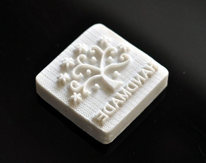"Handmade Cookie Stamp Seal Soap Stamp - Stars Tree with text ""Handmade"""