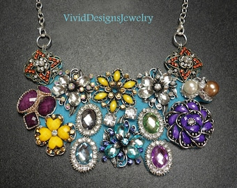 Turquoise Multi color Rhinestone Flower Briolette Bib Bubble Statement Necklace