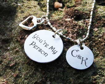 "Personalized ""You're My Person"" Necklace - ""You're My Person"" Charm Necklace - Christmas Gifts - Personalized Handstamped Engraved Necklace"