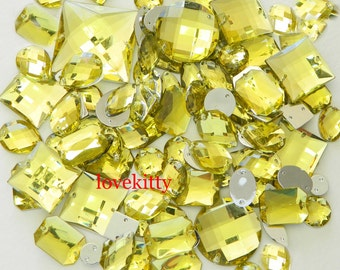 100 pcs lot --- Sew-On Gems / Beads ---Light Yellow Mixed Shapes Flat Back Gems -- ( Mixed size 6mm - 40mm has thread holes )