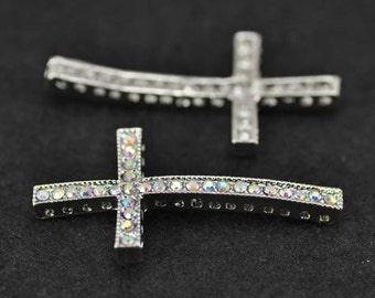 5pcs 22x47mm Silver Plated Colorful Rhinestone Sideways Cross Charms Connector