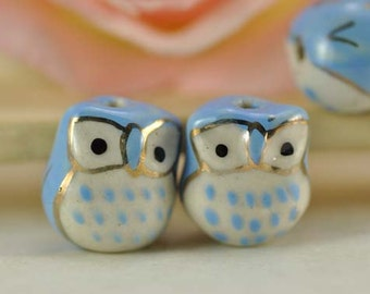 10pcs 16mm Blue Handpainted Cute Ceramic Owl Beads Owl Charms Connector