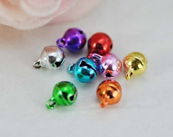 100pcs Bell Charms, 6mm Colorful Bell Charms Pendants- It Can Make a Sound