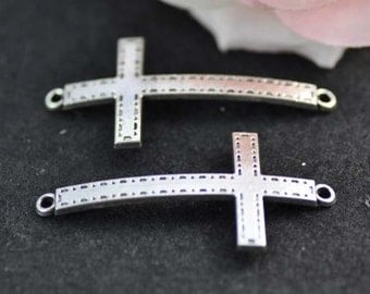 10pcs Antique Silver Sideways Cross Charms Connector, Cross Charms 25x53mm