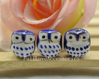 10pcs 16mm Blue Handpainted Cute Ceramic Owl Beads Owl Charms Pendant
