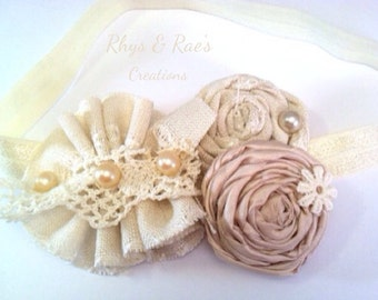 Ivory Vintage Rosette Girls Headband, Cream Bridal Hair Flowers, Champagne Wedding Hair Accessories, Baby Girls Headband, Newborn Headband