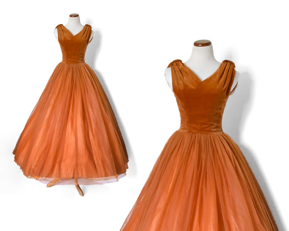 Vintage Wedding Dresses 50s 60s: 60s Prom Dress / 50s Formal Dress / Brown Gown By