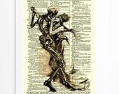 Dances with Death Dictionary Art Page, Gothic, Mixed Media, Art Print, Wall Decor, Halloween Decor, Halloween Party Decor, Skeleton