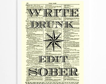Write Drunk Edit Sober Literary Star Ernest Hemingway Quote on 1897 Dictionary Page, Art Print, Wall Decor, Mixed Media, Buy 2 Get 1 Free