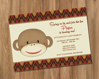Sock Monkey Inspired Birthday Party Invitation (Digital - DIY)
