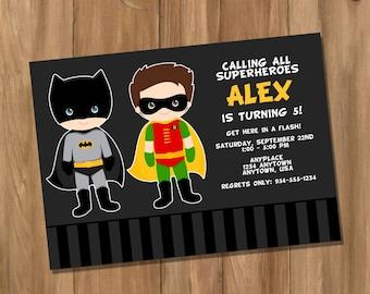 Batman and Robin Inspired Super Hero Birthday Party Invitation with Photo (Digital - DIY)