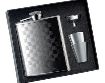 6 oz. Checkered Patterned Flask with 2 Stainless Steel Shooters & Funnel