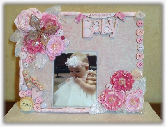 baby photo frame baby picture frame baby shower gift mixed media