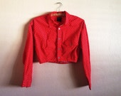 1990s Esprit Red Polka Dot Crop Top