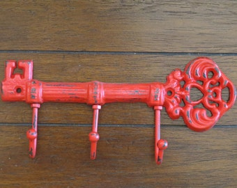 Key Holder / Skeleton Key Rack / Cast Iron Wall Hook / Key Hanger / Foyer Entrance Key Rack / Apple Red or Pick Color / Housewarming Gift