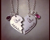 Personalized Hand Stamped Jewelry Sisters Best Friends Necklace Set 2 Pieces