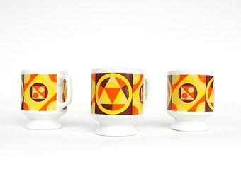 Vintage Coffee Mugs - Stackable Pedestal Mugs - Japanese Ceramic Mugs - 1970s Kitchen Decor - Retro Mugs - Geometric Decor - Yellow Orange