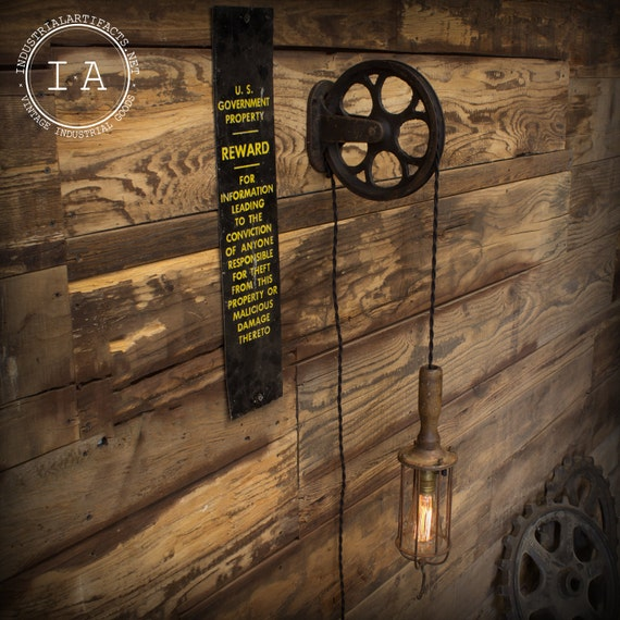 Industrial Pulley Light Fixture: Vintage Industrial Pulley And McGill Trouble Lamp Fixture