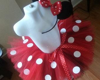 Red and White Polka Dot Tutu Set With Headband
