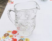 Vintage Cut Glass Pitcher Starburst Pattern Small Round Pitcher Cottage Chic Clear Glass Pitcher