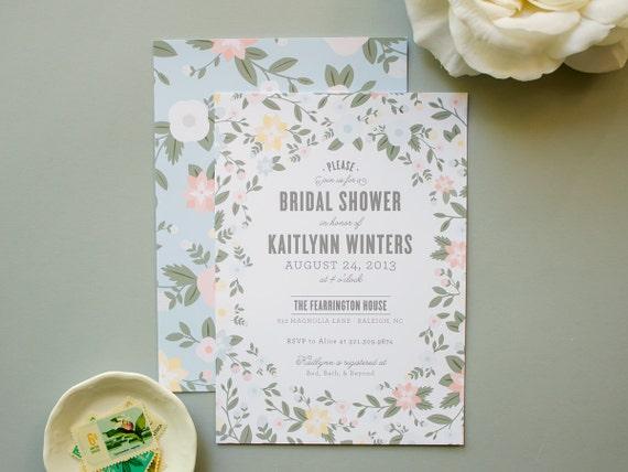 Bridal Shower Invitation, Pastel Flowers Invite for Spring Wedding Shower, Party Invites