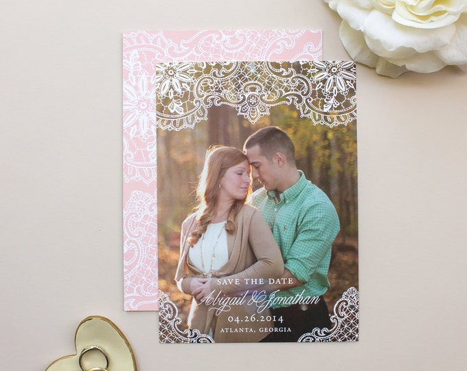 Photo Save the Date Cards, Romantic Wedding Save the Dates, Elegant Lace Engagement Announcement for Weddings  | Hope