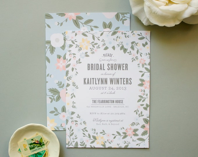 Bridal Shower Invitation, Pastel Flowers Invite for Spring Wedding Shower, Party Invites